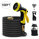 Garden Hose Expandable 100ft Water Hose with Solid Brass Connector & 3-Layer Latex
