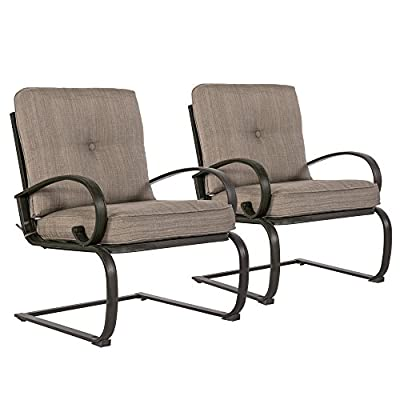 Cloud Mountain Set of 2 Patio Club Chairs Outdoor Dining Chairs Wrought Iron Set Garden Dining Bounce Seating Chair, Gradient Brown - INCLUDE: Set of 2 outdoor dining chairs(A little bounce) MATERIAL: Solid tempered wrought iron frame CUSHION MATERIAL: Sponge (Interior) / Olefin fabric (Cover) - patio-furniture, patio-chairs, patio - 51Gc7uGJrTL. SS400  -