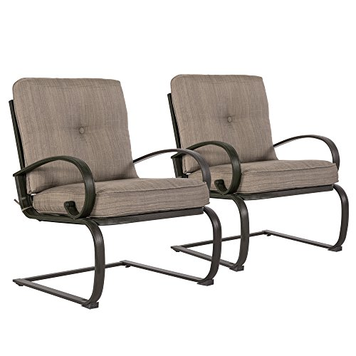 51Gc7uGJrTL - Cloud Mountain Set of 2 Patio Club Chairs Outdoor Dining Chairs Wrought Iron Set Garden Dining Bounce Seating Chair, Gradient Brown