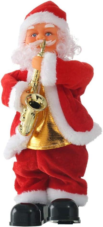 Toyvian Muñeco de Papa Noel Musical Bailando de Navidad con Saxofón Suministros Decoración de Mesa de Navidad Regalo para Niños