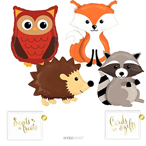 Andaz Press Balloon Party Kit with Gold Ink Signs, Woodland Owl, Raccoon, Hedgehog, and Fox Mylar Balloons, 6-Piece Kit ()