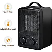 Personal Fan Heater, DOUHE 2-In-1 PTC 1500W/850W Space Heater, Electric Table Heater for Small Room with Over Heat Protection