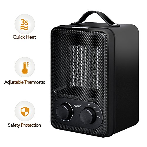 Personal Fan Heater, DOUHE 2-In-1 PTC 1500W/850W Space Heater, Electric Table Heater for Small Room with Over Heat Protection Ceramic Heaters