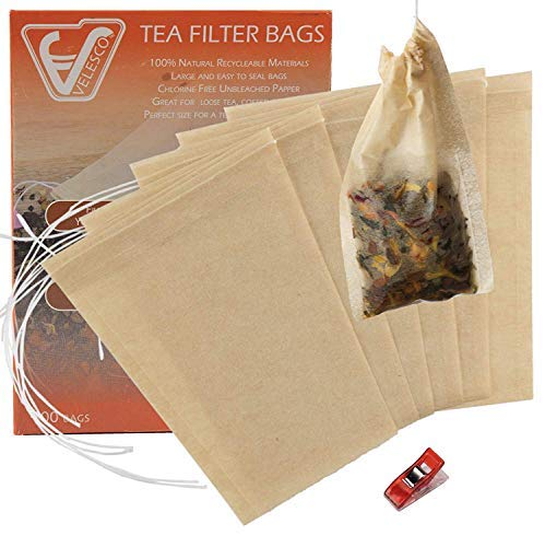 Velesco Tea Filter Bags Disposable Tea Infuser with Drawstring for Loose Leaf Tea with 100% Natural Sustainable Unbleached Paper 3.9