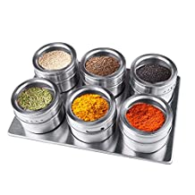 ILSELL Magnetic Spice Jars,6 pieces Stainless Steel Spice Tins/Cans/Containers with Stainless Spice rack
