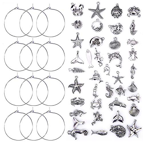 (Ancefine 30mm 100 Pieces Silver Plated Wine Glass Charm Rings +40 Pieces Ocean Fish & Sea Charms Pendants-DIY Your Own Wine Glass Marker)