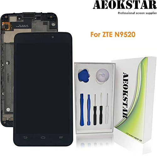 Aeokstar For ZTE MAX Boost Mobile N9520 LCD Touch Screen Digitizer Glass Assembly Replacement + Frame & Full Repair Tools Kit (Black + Frame) (Lcd Screen For Boost Max)