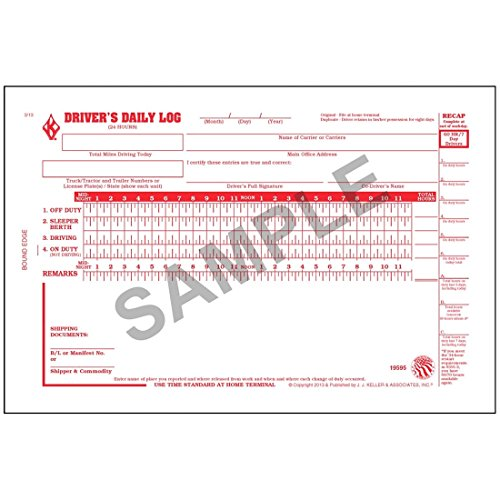 English Truckers Daily Log Book (Pack of 12)