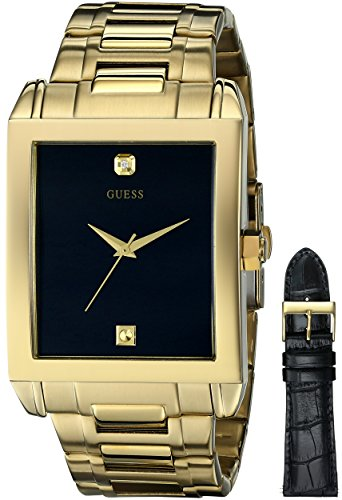 - GUESS Men's U0206G1 Interchangeable Wardrobe Watch Set in Gold-Tone with Diamond Accent & Black Dial