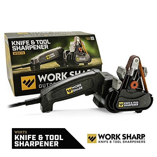 Work Sharp WSKTS Knife & Tool Sharpener, Precision Sharpening Guides with Premium Abrasive Belts, Fast, Easy, Repeatable, & Consistent Results, & can Sharpen Lawn, Garden, & Bladed Shop Tools by Work Sharp