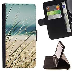For Sony Xperia M4 Aqua Case , Sand Sun Ocean Sea Beach- la tarjeta de Crédito Slots PU Funda de cuero Monedero caso cubierta de piel