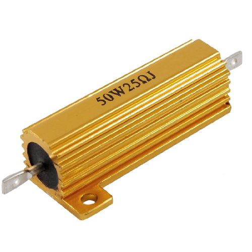 Wire Resistor (Uxcell a12040600ux0313 50 W 25 Ohm 5% Gold Tone Aluminum Shell Wire Wound Resistor, 0.87