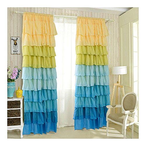 """1 Pair Ruffle Sheer Curtain 54""""X84"""" Panels Drapes Valances Top Rod Pocket New (blue) from Unknown"""