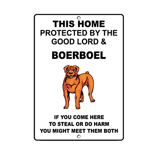 Boerboel Dog Home Protected by Good Lord and Novelty SignVinyl Sticker Decal 8