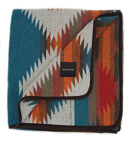 RUTH&BOAZ Outdoor Wool Blend Blanket Ethnic Inka Pattern(M) (Orange, Large)