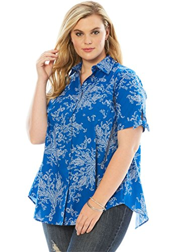 Roamans Women's Plus Size French Check Shirt Lapis Blue Paisley Print,28 - Check Blouse Print