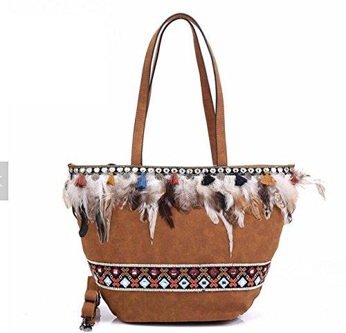 Banjara brown Con Tote Rilievo Donna In Brown Pinchu Trapezio Tracolla AnqFApx