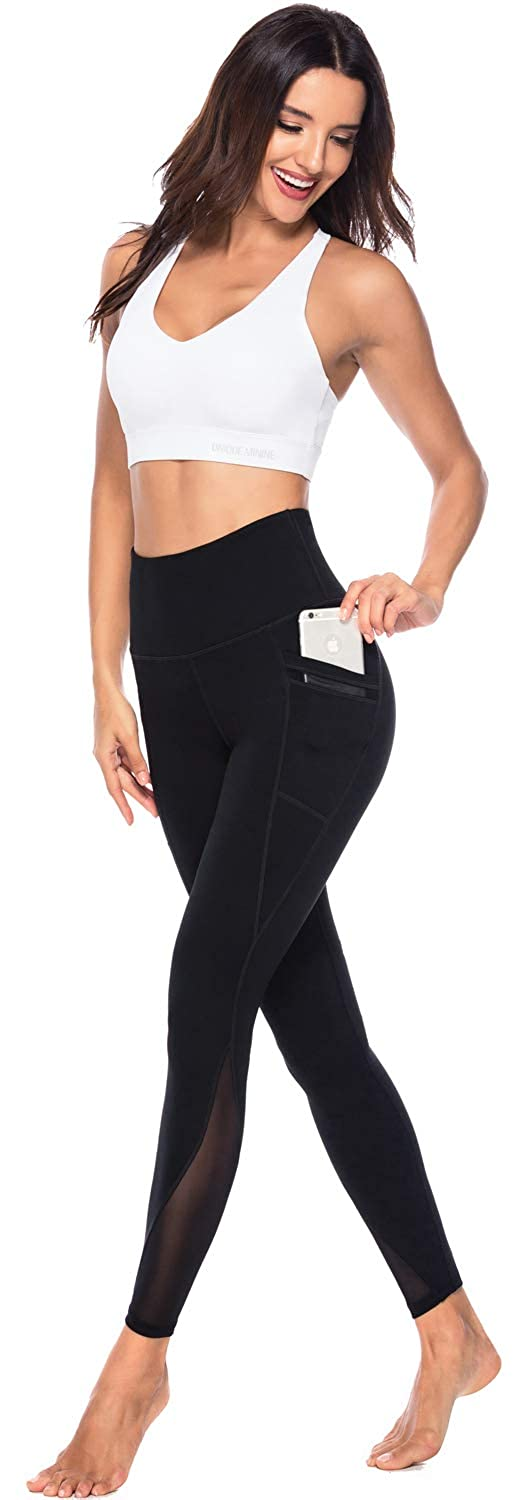 Persit Womens Mesh Yoga Pants with 2 Pockets Non See-Through High Waist Tummy Control 4 Way Stretch Leggings