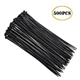 Black Nylon Cable Zip Ties, Releasable Adjustable 8 Inch Wire Ties 500 PCS