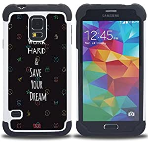 - Word Hard Save Your Dream - - Fulland Deluxe Hybrid TUFF Rugged Shockproof Rubber + Hard Case Cover FOR Samsung Galaxy S5 I9600 G9009 G9008V Queen Pattern