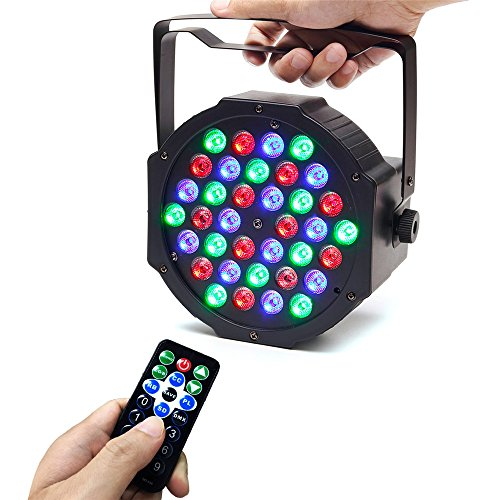 Disco Lights, SOLMORE DMX-512 RGB 36 LED Par Lights,Stage Lights DJ Light Party Light Projector Light Sound Activated Background Stage Lighting by IR Remote for Wedding KTV Show Club Bar Decor 25W