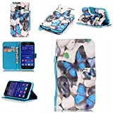 Galaxy Core Prime Case,IVY [Blue Butterfly][3D Visual Effect][Strap Kickstand Case][PU Leather Wallet] For - Best Reviews Guide