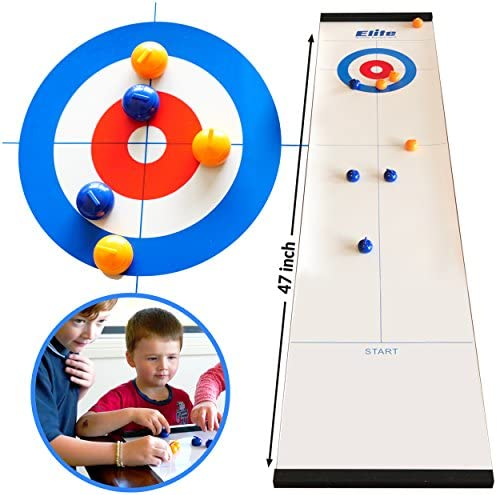 Family Games for Adults & Kids – Curling Game – Tabletop Game (4' x 1') – Indoor Fun for Whole Family, Home Or Travel – Ages 6 & Up – by Elite Sportz