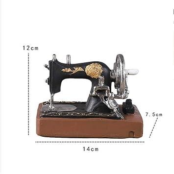tobbrt Clásico Retro Máquina de Coser Modelo Adornos Muebles de Resina Antigua Máquina de Coser Miniatura Craft Bar Café Decoración del Hogar Regalos: ...
