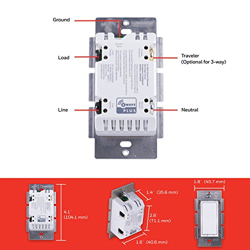 Honeywell Z-Wave Plus Smart Light Dimmer Switch, In-Wall Paddle, Interchangeable White & Almond |Built-In Repeater & Range Extender | ZWave Hub Required - SmartThings, Wink, Alexa Compatible, 39351 by Honeywell (Image #6)