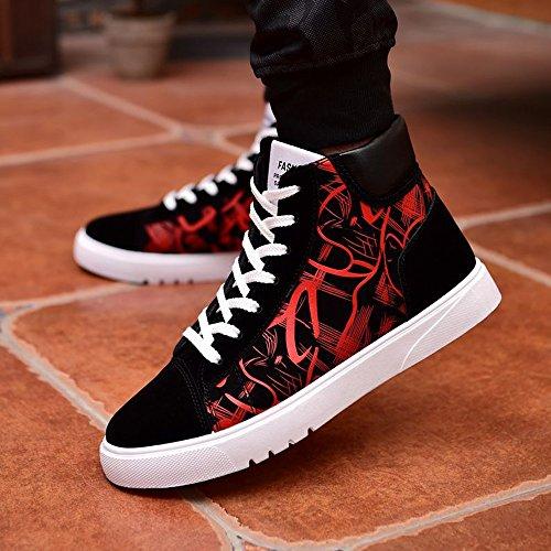 de hombres altas Zapatos de de patente para de Color 44 zapatillas Hombre con los superior tamaño planos de cordones cuero Zapatillas la 2018 la Rojo abstracta patente Rojo EU pintura 0tqgXvwt