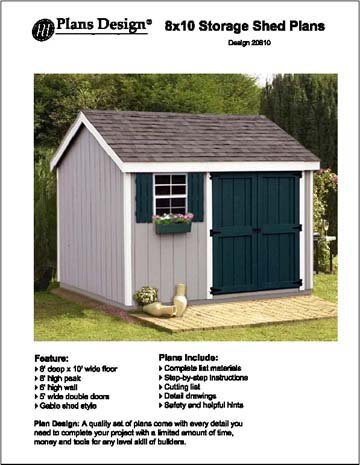 8 X 10 Gable Storage Shed Project Plans Design 10810