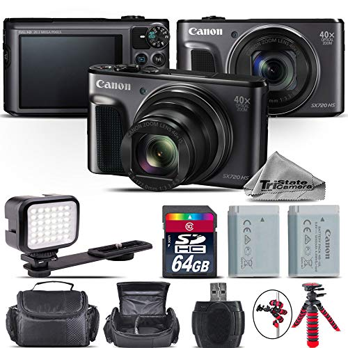 Canon PowerShot SX720 HS Digital Camera + 64GB Class 10 Memory Card+ LED Kit + Backup Battery + Tripod + Case + Cleaning Kit - International Version -  TriStateCamera, CANPSSX720BKKC