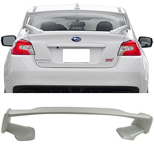 Pre-painted Trunk Spoiler Fits 2015-2018 Subaru WRX STI | STI Style ABS Painted #K1X Crystal White Pearl Trunk Boot Lip Spoiler Wing Deck Lid Other Color Available By IKON MOTORSPORTS | 2016 2017
