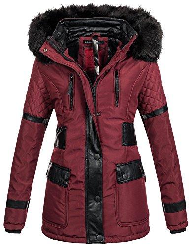 Navahoo Damen Designer Winter Jacke Warmer Mantel Lang Parka Gefüttert B304  Bordeaux 2IHn5J