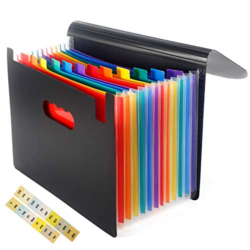 Expanding File Folder, 12 Pockets Portable Accordion A4 Letter Size Document Holder Desk File Storage Bag Rainbow Layers with Colorful Labels and Lid for Office,Business, Home, School ()