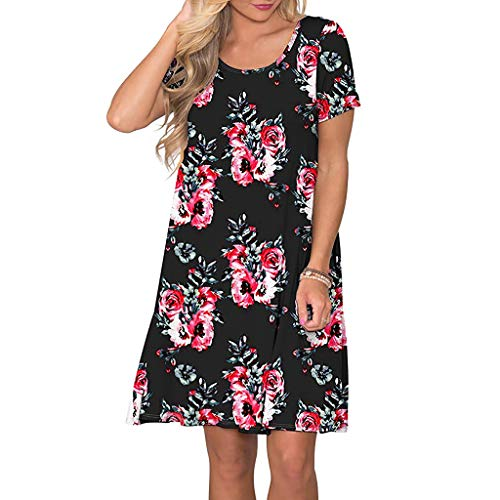 Women's Summer Casual Short Sleeve Floral Printed Swing Dress Sundress with Pockets Casual Loose Mini Dress