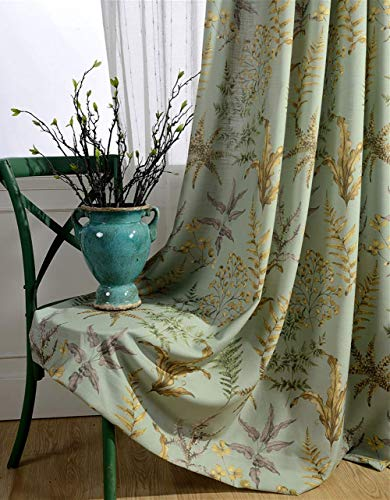 Floral Vine Curtain Panel - BW0057 Chinese Rural Style Floral Vine Printed Curtain Home Decoration Rod Pocket Panel Drape Bedroom Living Room Dining Room-002(2 Panels, W 50 x L 102 inch, Green)