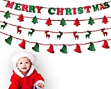 【TECHGLEE】Merry Christmas Felt Banners sets - Happy Holiday Party Decoration 4 Types 38 Pieces Festival, Party Outdoor & Indoor Ornaments Hanging words, trees, reindeer and hats [2 meters decor log]