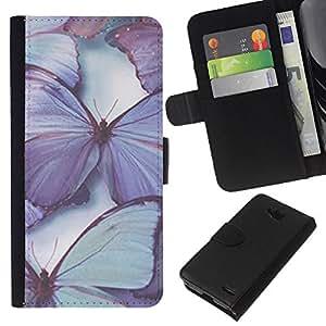 KLONGSHOP // Tirón de la caja Cartera de cuero con ranuras para tarjetas - mariposa púrpura naturaleza azul de primavera - LG OPTIMUS L90 //