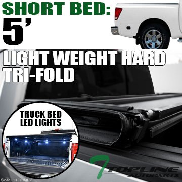 - Topline Autopart Lightweight Hard Tri Fold Vinyl Tonneau Cover & Truck Bed LED Lighting System For 04-15 Nissan Titan Crew Cab 5.5 Feet (66