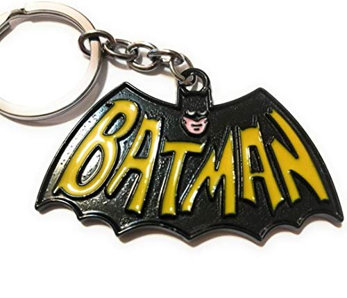 's BATMAN LOGO Raised Detail 2 types retro Classic DC Comics Movie Full Metal Key chain cosplay (Cape 60s style blk yllw) SuperGifts ()