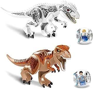 2Pcs/Sets  Jurassic Dinosaur world Figures Tyrannosaurs Rex Building Blocks Compatible With Legoed Dinosaur Toys