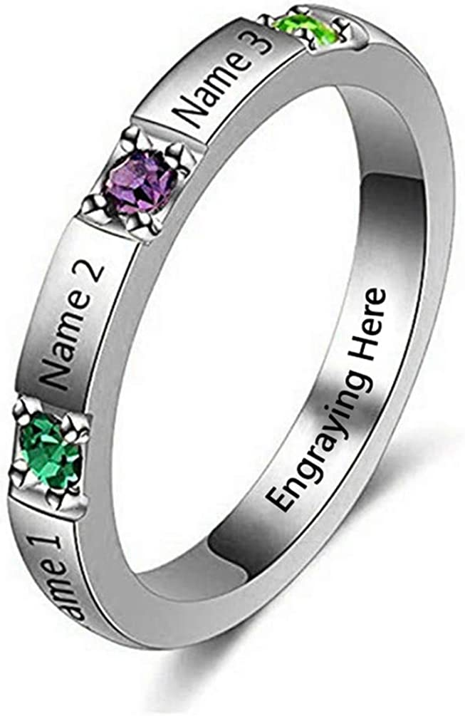 FACOCO Three Named Rings with Birthstone Personalized in 925 Sterling Silver