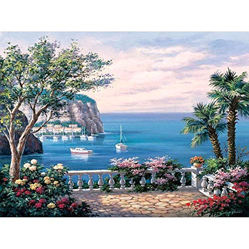 Paint by Numbers DIY Oil Painting Newport Bay Adults and Children Oil Painting Kit and Brush for Decorations Gifts 16x20inch (40x50cm) [No Frame] (Cottage Rose Newport)