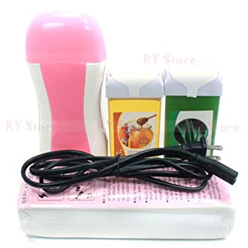 4 in 1 Honey Aloe Vera Taste 100g Wax Carriage , Pink Color Roll on Roll-on Refillable Depilatory Wax Heater Waxing Hair Removal Kit Tools Machine Kits Set , 100 PCS Paper Strips , 110v Us Plug
