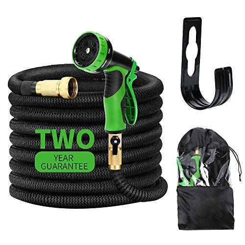 Kugoplay 50 ft Garden Hose 9 Patterns Hose Nozzle - Pressure Expanding Water Hose with Leakproof Solid Brass Fittings, Flexible Expandable Hose with Double Latex Core Extra Strength Fabric