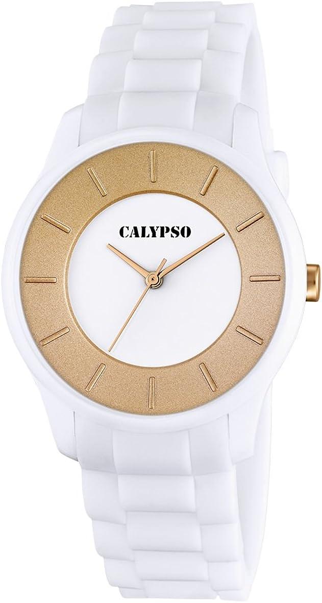 Calypso Reloj Unisex de Cuarzo con Blanco Esfera analógica Pantalla y Correa de plástico Color Blanco K5671/2