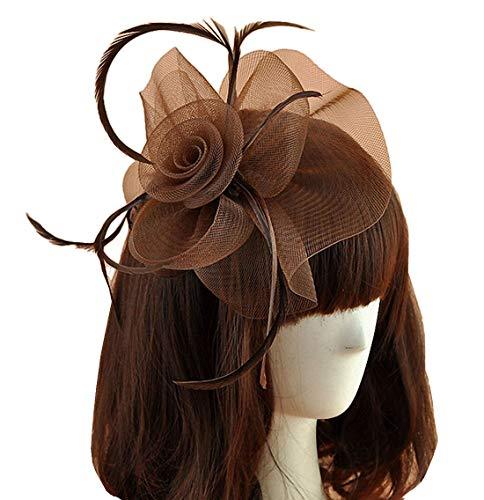 Women Fascinators Hair Clip Headband Hat Veil Flower Derby Cocktail Tea Party Church Headwear (Coffee)]()
