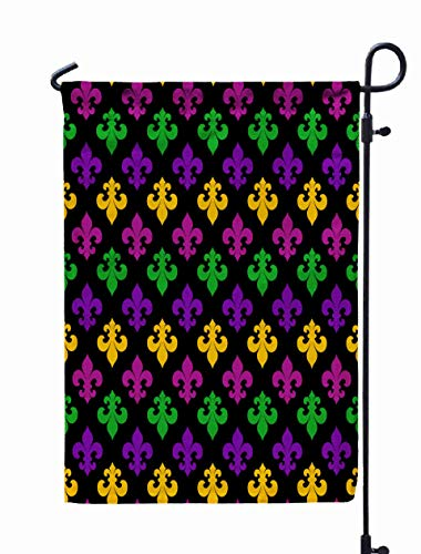 Shorping Welcome Garden Flag, 12x18Inch Mardi Gras Carnival Pattern Background Texture Wrapper for Holiday and Seasonal Double-Sided Printing Yards Flags -