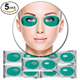 Cleansing Your Crystals In The Sun - Set Kit of 5 Pairs Green Aloe Vera Collagen Gel Crystal Masks Eyelids Patches Eyes Pads for Intense Moisturizing Hydrating, Skin Firming Lifting, Wrinkles Removal and After Sun Sunburn Treatment